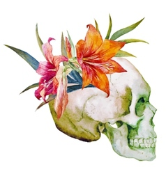 Watercolor skull with flowers vector