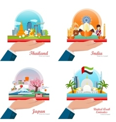 Welcome to Japan Thailand India UAE Travelling vector image vector image