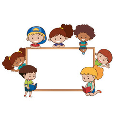whiteboard and happy kids around it vector image vector image