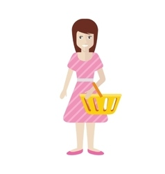 Women with Trolley Basket at Supermarket vector image vector image