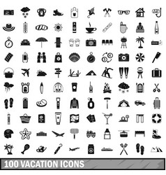 100 vacation icons set simple style vector