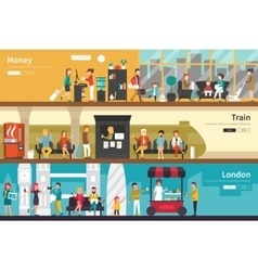 Money train london flat interior outdoor concept vector