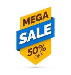 Mega sale banner Yellow and blue colors vector image
