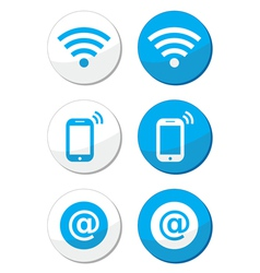 Wifi network internet zone blue labels set vector