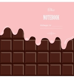 Pink cream melted on chocolate bar background vector image