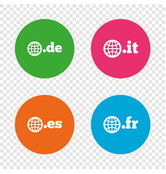 top-level domains signs de it es and fr vector image
