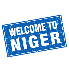 Niger blue square grunge welcome to stamp vector