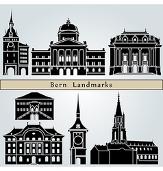 Bern landmarks and monuments vector