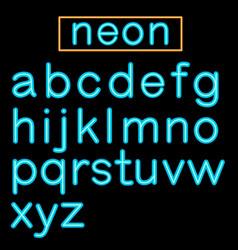blue glowing neon bar alphabet on black background vector image