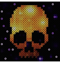 Skull gold beads sequins vector