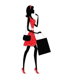 Silhouette of a woman shopping vector image