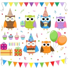 birthday party owls set vector image