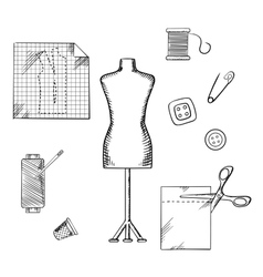 Tailoring or sewing sketched icons and objects vector