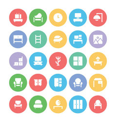 Building and furniture icons 7 vector