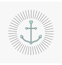 Anchor in shapes of heart Round thin line frame vector image