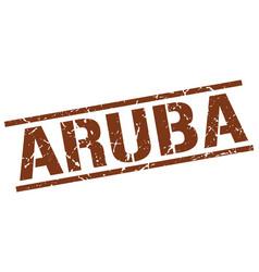 Aruba brown square stamp vector