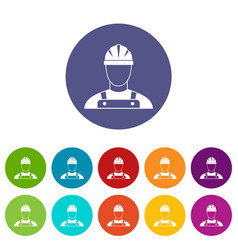builder set icons vector image