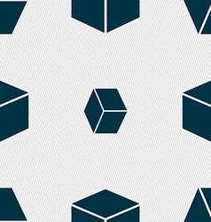 cube icon sign Seamless pattern with geometric vector image