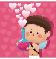 Cute little cupid valentine day love potion pink vector
