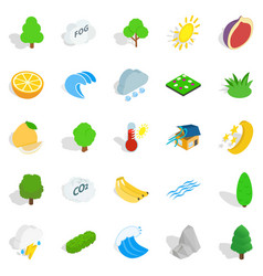earth icons set isometric style vector image