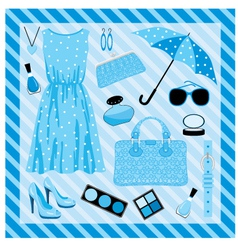 fashion set in blue tones vector image vector image
