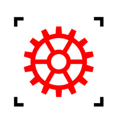 Gear sign red icon inside black focus vector