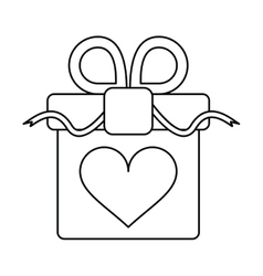 Gift box with heart and bow outline vector