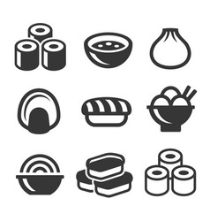 japanese sushi food icons set vector image vector image