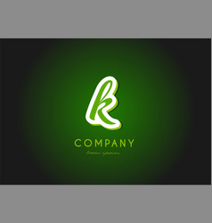 K alphabet letter logo green 3d company icon vector