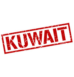 Kuwait red square stamp vector
