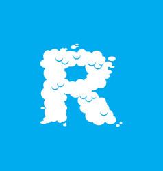 Letter r cloud font symbol white alphabet sign on vector