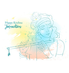 Lord krishna happy vector