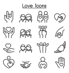 love relationship friend family icon set in thin vector image