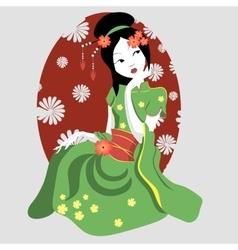 New geisha in a kimono vector