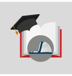 Online learning open book cap graduation education vector
