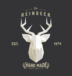 Polygonal hipster logo with head of deer vector image vector image