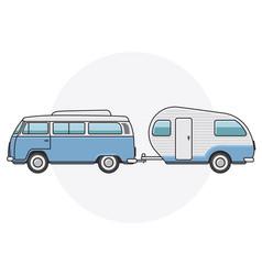 Retro van with camper trailer - vintage minibus vector