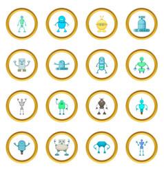 Robot icons circle vector