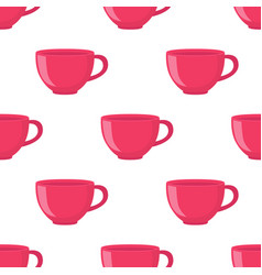 seamless pattern of tea cup in cartoon flat style vector image
