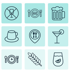 Set of 9 meal icons includes cocktail fresh vector