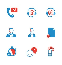 Set of call center and support service icons vector image vector image