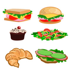 set of snacks and desserts vector image