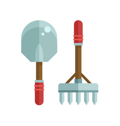 Shovel and rake icon vector