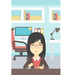 Woman using three D pen vector image vector image