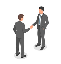 Isometric business people shaking hands in vector image