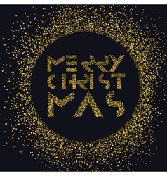 Merry christmas gold lettering christmas vector