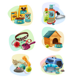 Pet care concept composition icons set vector