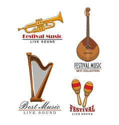 Music festival icons of musical instruments vector