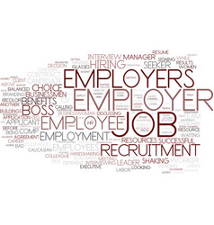 Employers word cloud concept vector