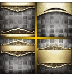 Gold and silver background set vector